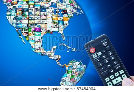 Television Broadcast Multimedia World Map Abstract Composition