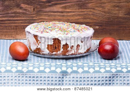 Cake Candied Fruit And Sugar Powder