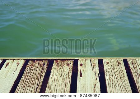 Summer Time Wooden Deck With Clipping Path