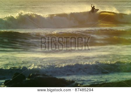 Vintage Summer Shorebreak Wave Surfing