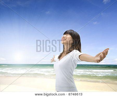 Asian Girl On Beach