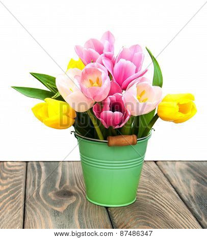 Bucket With Colorful Tulips