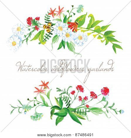 Watercolor Wildflowers Garlands Vector Design Elements