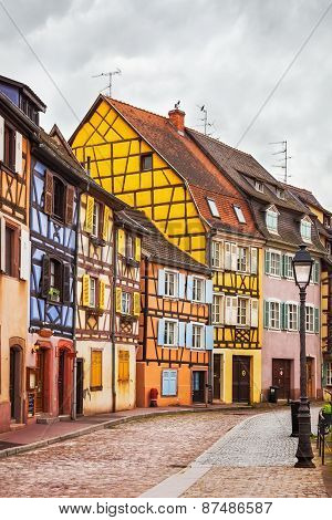 Colmar, Petit Venice, Street, Lamp And Traditional Houses. Alsace, France.