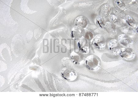 diamonds on white floral fabric