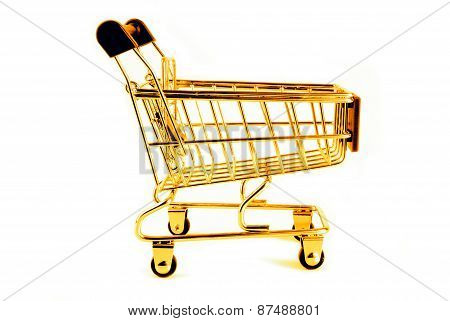 golden trolley isolated on white