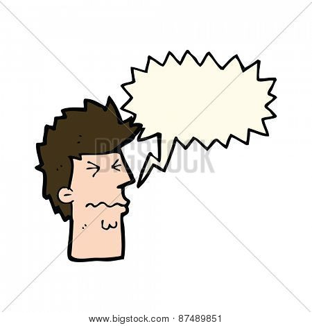 cartoon stressed out face with speech bubble