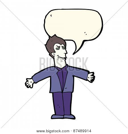 cartoon vampire man with open arms with speech bubble