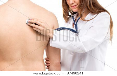 Female Young Doctor Holding Patient's Lung Auscultation With Blue Phonendoscope