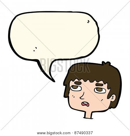 cartoon unhappy face with speech bubble