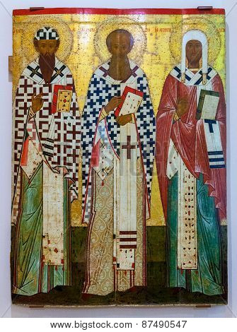 Antique Russian Orthodox Icon Of Ss Cyril And Athanasius Of Alexandria, Leontius Of Rostov