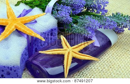 Lavender Flowers With Liquid Soap, Bathroom Accessories, Starfish