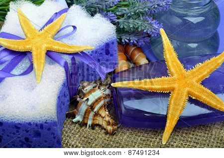 Spa Concept, Lavender Flowers With Liquid Soap, Bathroom Accessories, Starfish