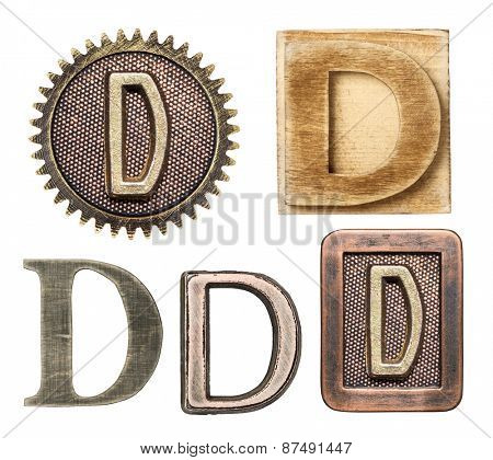 Alphabet made of wood and metal. Letter D
