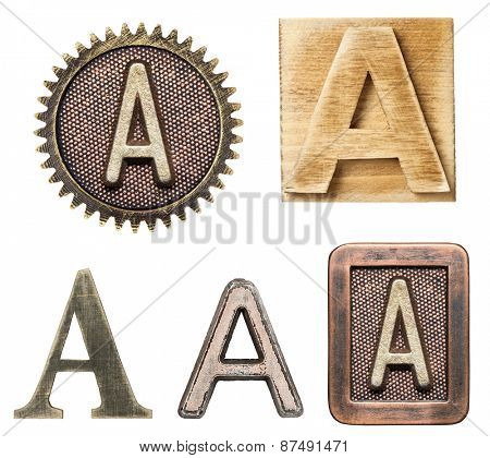 Alphabet made of wood and metal. Letter A
