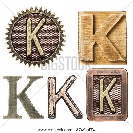 Alphabet made of wood and metal. Letter K