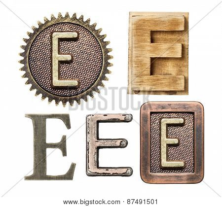 Alphabet made of wood and metal. Letter E