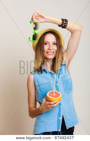 Summer Girl Tourist Holding Grapefruit Citrus Fruit