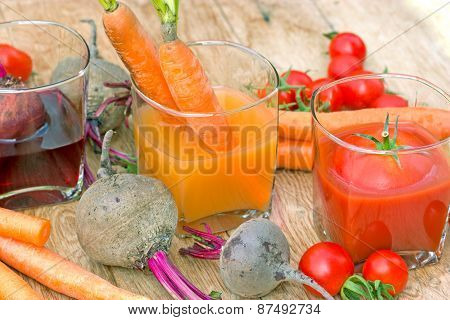 Juices from organic vegetables