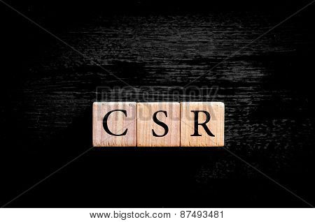 Acronym Csr- Corporate Social Responsibility Isolated With Copy Space