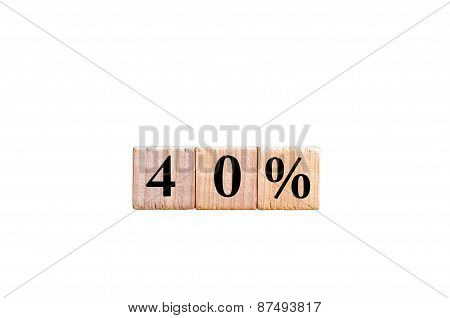 Fourty Percent Symbol Isolated On White Background With Copy Space