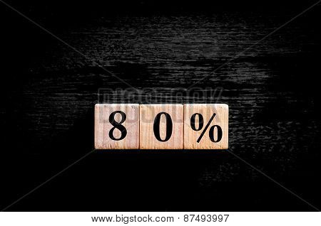 Eighty Percent Symbol Isolated On Black Background With Copy Space