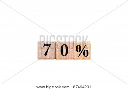 Seventy Percent Symbol Isolated On White Background With Copy Space