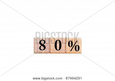 Eighty Percent Symbol Isolated On White Background With Copy Space