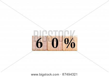 Sixty Percent Symbol Isolated On White Background With Copy Space