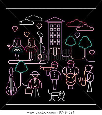 Street Musicians Vector Illustration