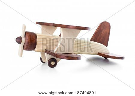 Wooden airplane model side view isolated