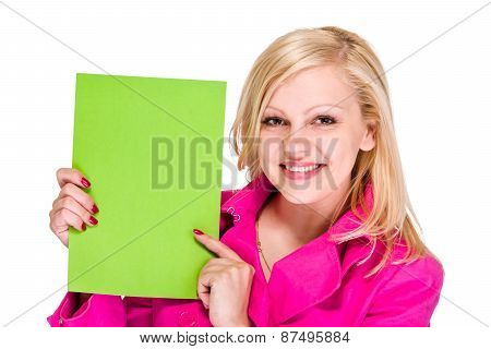 Smiling young business woman showing blank signboard