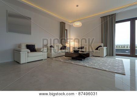 Leather Cream Sofa And Armchair