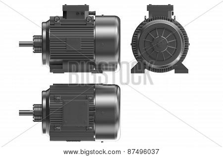 Industrial Electric Motors  Front, Side, Back View