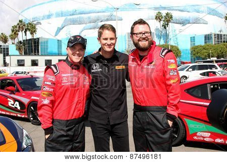 LOS ANGELES - FEB 7:  Brett Davern, Ryan Hunter-Reay, Rutledge Wood at the Toyota Grand Prix of Long Beach Pro/Celebrity Race Press Day at the Grand Prix Compound on FEB 7, 2015 in Long Beach, CA