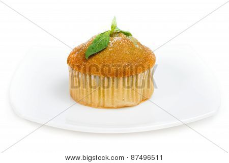 Piece of pineapple cake cream isolated on white