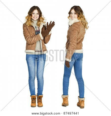 Collage, Young beautiful girls in a leather sheepskin coat and blue jeans isolated on white background