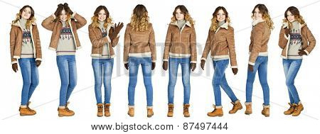Young beautiful girls in a leather sheepskin coat and blue jeans isolated on white background