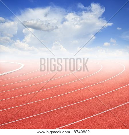 Curve Of A Running Track And Blue Sky