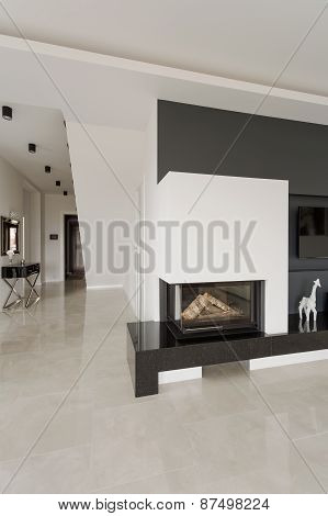 Designed Fireplace In Modern Residence
