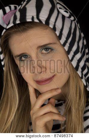 Young Woman Wearing Cat Pajamas Close -up Potrait