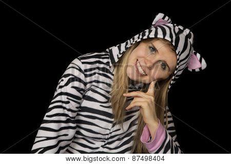 Blond Woman Smiling Wearing Cat Pajamas Sitting Down
