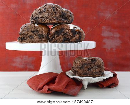 Chocolate Fruit Buns On White Cake Stand