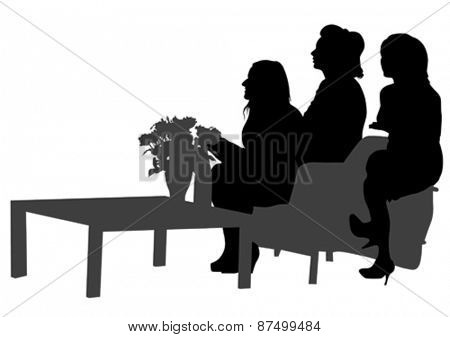 Couple of beauty women in suit on white background