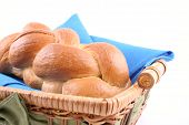 stock photo of sabbatical  - basket of challah bread isolated on white - JPG