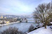 stock photo of linzer  - Cityscape of Linz from Linzer Schloss - JPG