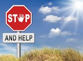 image of helping others  - stop and help helping others give a hand for solidarity and give for charity and donate - JPG