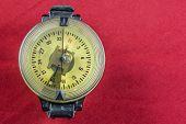 pic of ww2  - Vintage German WW2 airforce pilot wrist compass on red velvet background - JPG