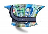 foto of overspending  - Mexican Peso bill being squeezed by a belt - JPG