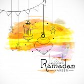 picture of ramazan mubarak  - Beautiful concept for Islamic holy month of prayers Ramadan Mubarak celebrations with hanging lanterns on colourful background - JPG